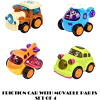 Cartup Unbreakable Toys, Set of 4 Unbreakable Friction Powered Car, Helicopter, Plane, Train Toys for Kids (Friction Toys)