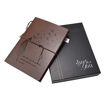 Xiujuan Album Photos Coffret Cadeau Scrapbooking Materiel Scrapbook Album Pages Noires Cuir Vintage Cadeau Noël Saint Valentin Anniversaire Mariage