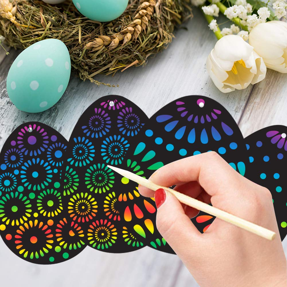 Koogel 36 pcs Easter Egg Scratch Art Set,Rainbow Scratch Art Mini Notes with 36 pcs Colorful Ribbon 12 pcs Wooden Stick Scratch Tool Great Gift for Kids Party Favor