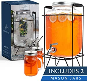 2 gallon glass drink dispenser with stand and 2 mason jars and stainless steel spigot and fruit infuser beverage dispenser drink dispenser for parties drink dispenser with spigot 2 gallon dispenser