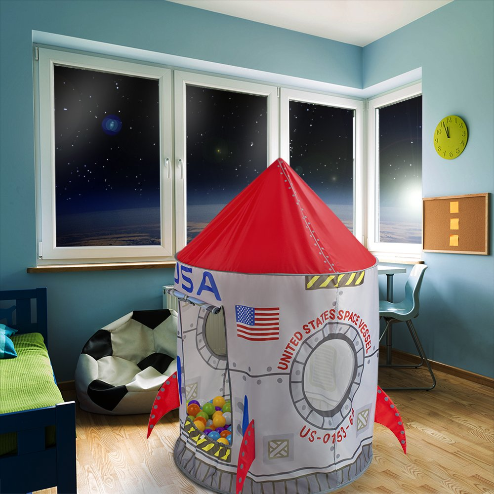 Great for Ball Pit Balls and Pretend Play by Imagination Generation SG/_B01C4U1YTE/_US Space Adventure Roarin Rocket Play Tent with Milky Way Storage Bag Indoor//Outdoor Childrens Astronaut Spaceship Playhouse
