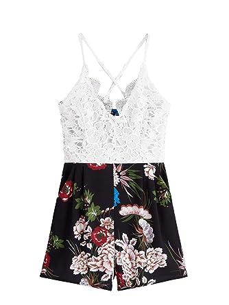 bd85a57c295 SheIn Women s Boho Crochet V Neck Halter Backless Floral Lace Romper  Jumpsuit Small Black
