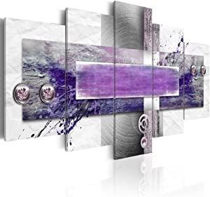 Purple Canvas Artwork Modern Asbtract Wall Art HD Print Picture Home Decor 5 Panels Large Hanging Painting for Living Room Stretched and Ready to Hang (W40 x H20, Restless Mind)