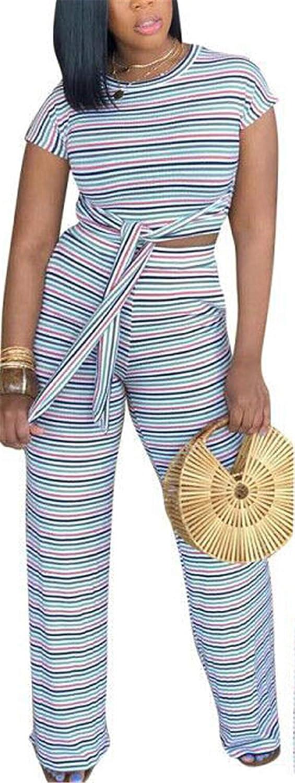 Women Casual 2pcs Outfits Rainbow Stripe Top Shirts Long Pants Set Club Dress
