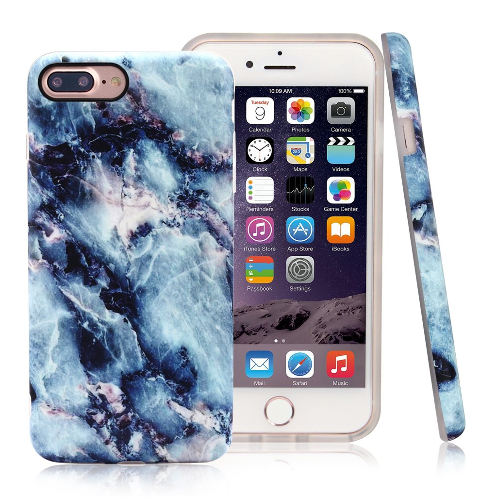 Nasousa iPhone 7 plus Marble case,IMD Printing Slim-Fit Ultra-Thin Anti-Scratch Shock Proof Dust Proof Anti-Finger Print TPU Case for iPhone 7 plus(5.5 inch)(Blue marble)