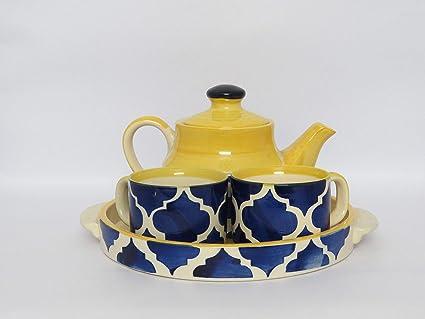 Hindustani Saudagar Ceramic Handmade Painted Kettle with Cups Tea Set (Multicolour)