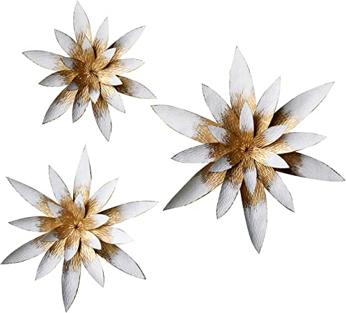 Luxen Home Gold and Teal Metal Flower Wall Decor