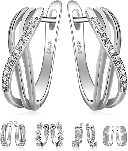 925 Sterling Silver Small White CZ Infinity Girls Hoop Huggie Earrings