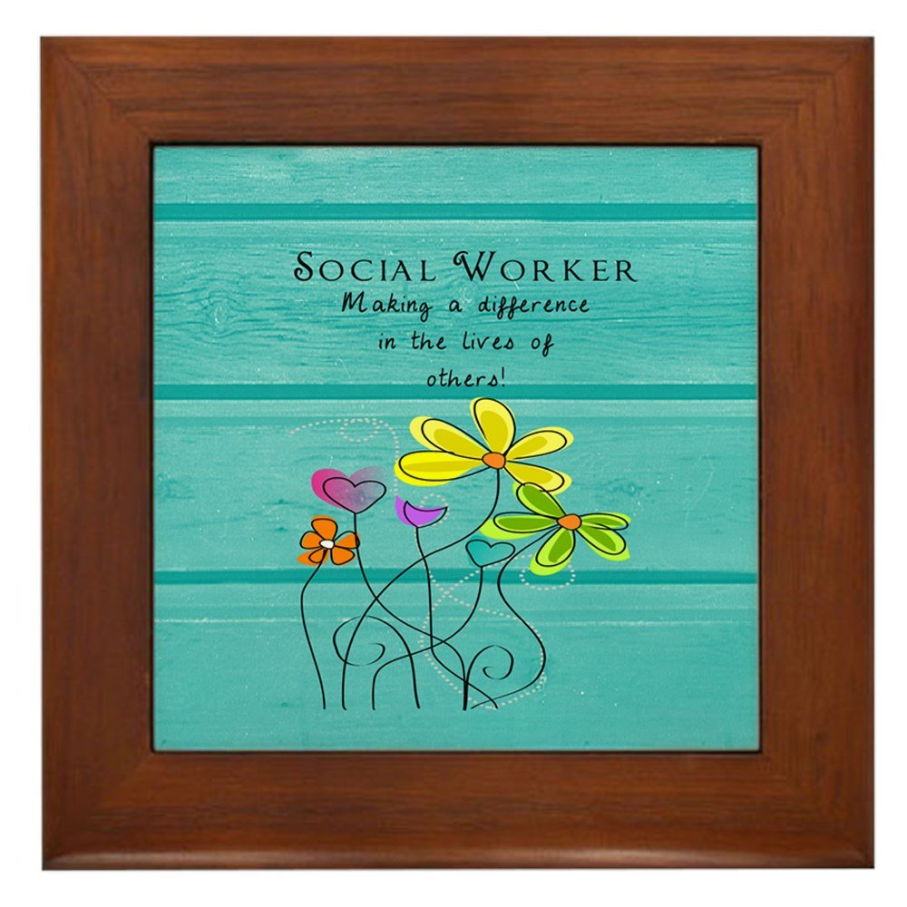 CafePress - Social Worker - Framed Tile, Decorative Tile Wall Hanging by CafePress