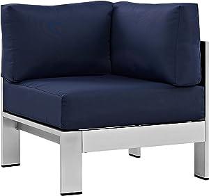 Modway Shore Aluminum Outdoor Patio Corner Chair in Silver Navy