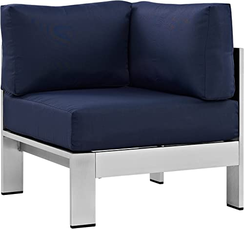 Modway Shore Aluminum Outdoor Patio Corner Chair in Silver Navy