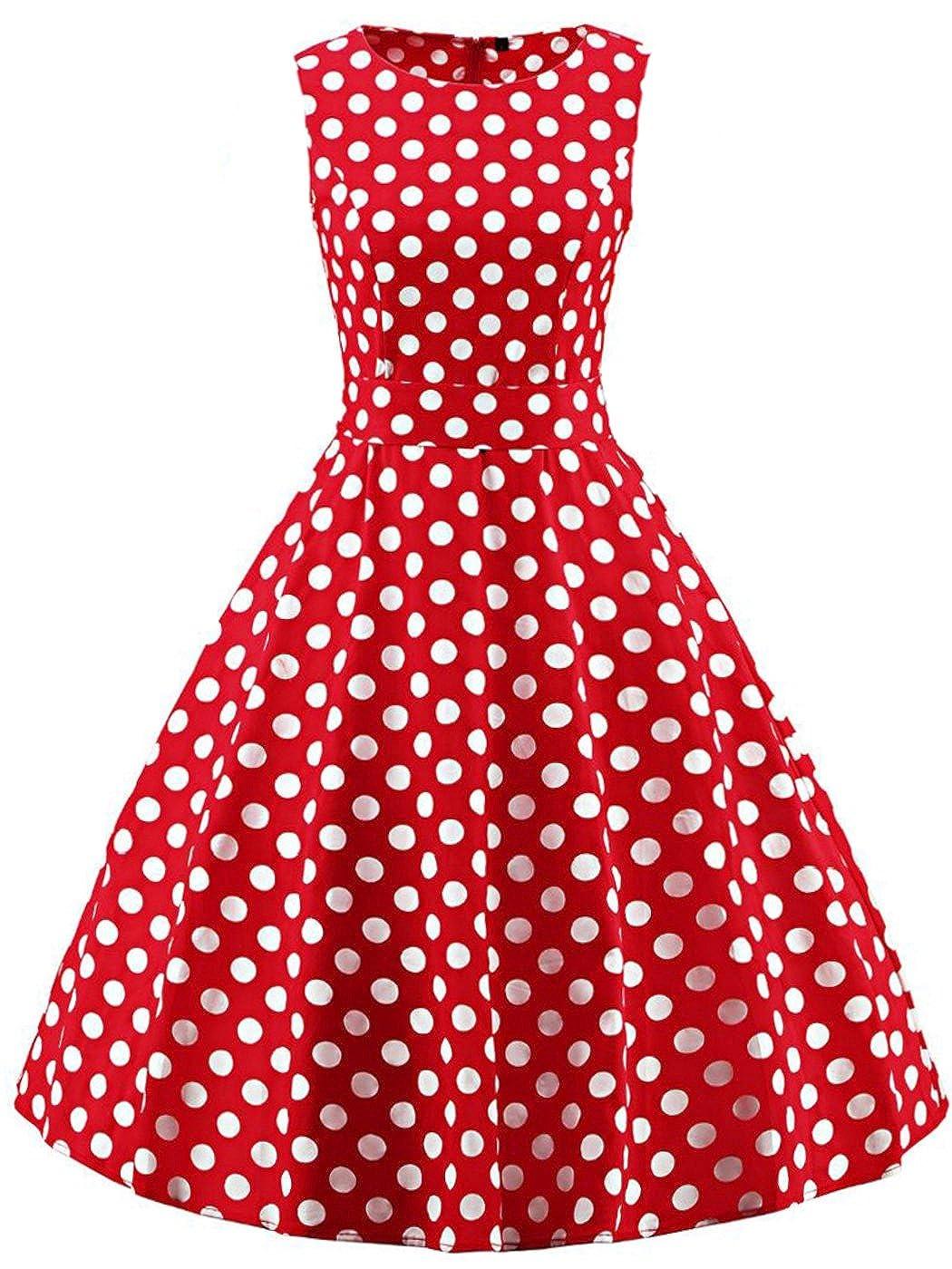 TALLA S. FAIRY COUPLE 50s Vestido de Partido Floral Retro del Oscilación del Cóctel del Vintage con el Arco DRT017 Puntos Blancos Rojos S