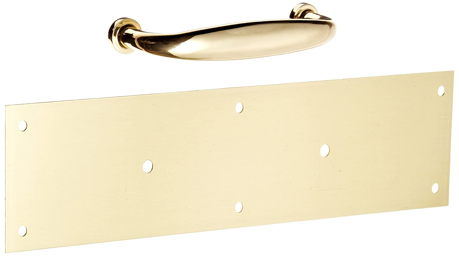Satin Clear Coated Finish Rockwood 70A.4 Brass Standard Push Plate 12 Height x 3 Width x 0.050 Thick Four Beveled Edges