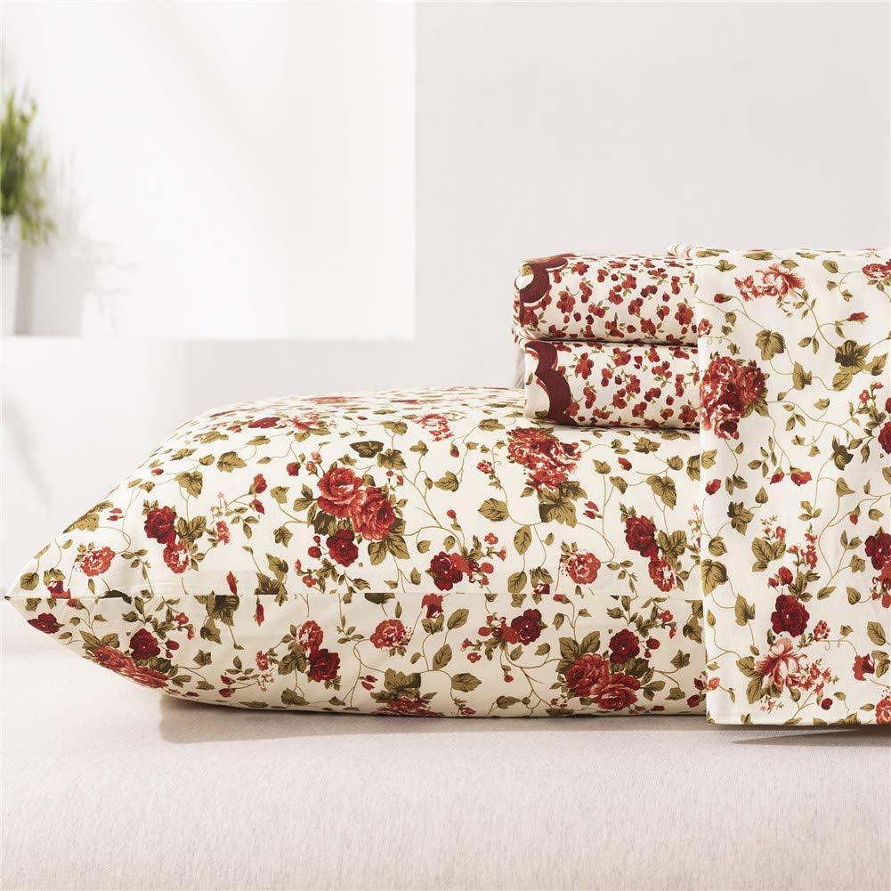 MEISHANG Floral Sheets Printed BedSheets Ultra Soft 100% Microfiber-Deep Pocket Fitted Sheet+Flat Sheet+Pillowcase-4 Pieces King