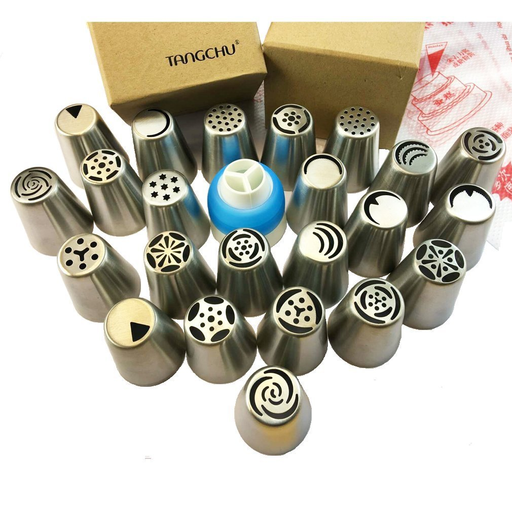 Russian Piping Tips - Cake Decorating Supplies - 29 Baking Supplies Set - 23 Icing Nozzles - 5 Disposable Pastry Bags & Coupler - Extra Large Decoration Kit - Best Kitchen Gift