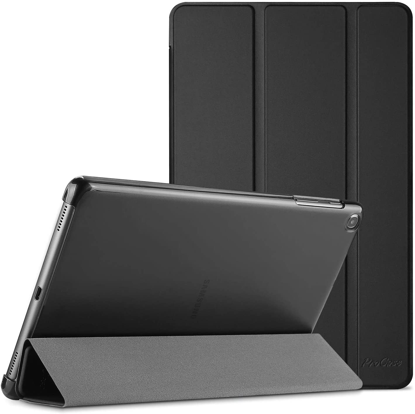 ProCase Galaxy Tab A 10.1 Case 2019 Model T510 T515 T517, Slim Lightweight Stand Case Shell Cover for 10.1 Inch Galaxy Tab A Tablet SM-T510 SM-T515 SM-T517 2019 Release -Black