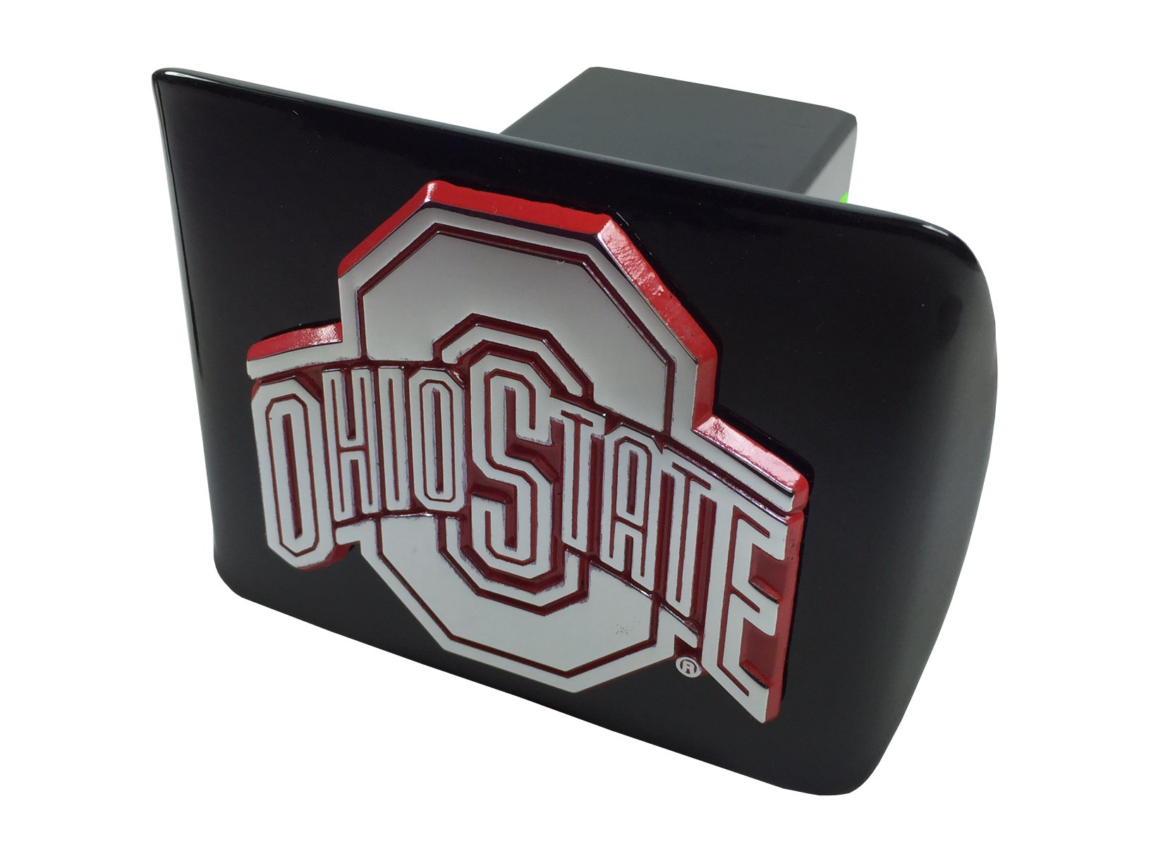 AMG The Ohio State University Metal Emblem (Chrome with red Trim) on Black Metal Hitch Cover by AMG