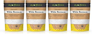 Sky Organics USDA Organic White Beeswax Pellets (4lb) Pure Bees Wax No Toxic Pesticides or Chemicals - 3 x Filtered, Easy Melt Pastilles- for DIY, Candles, Skin Care, Lip Balm