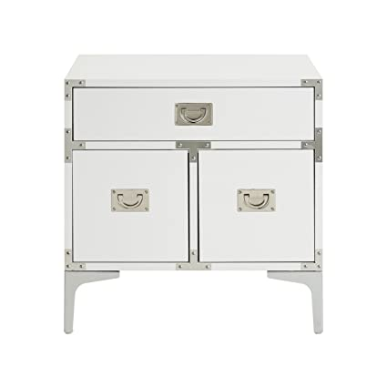 Inspired Home Marco White Lacquer Finish Nightstand   Chrome Leg | Side  Table | Executive Style