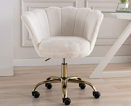 Guyou Faux Fur Home Office Desk Chair Stool Comfy - the best office desk chair for the money