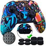 9CDeer Studded Protective Customize Transfer Printing Silicone Cover Skin Sleeve Case + 8 Thumb Grips Analog Caps for Xbox On