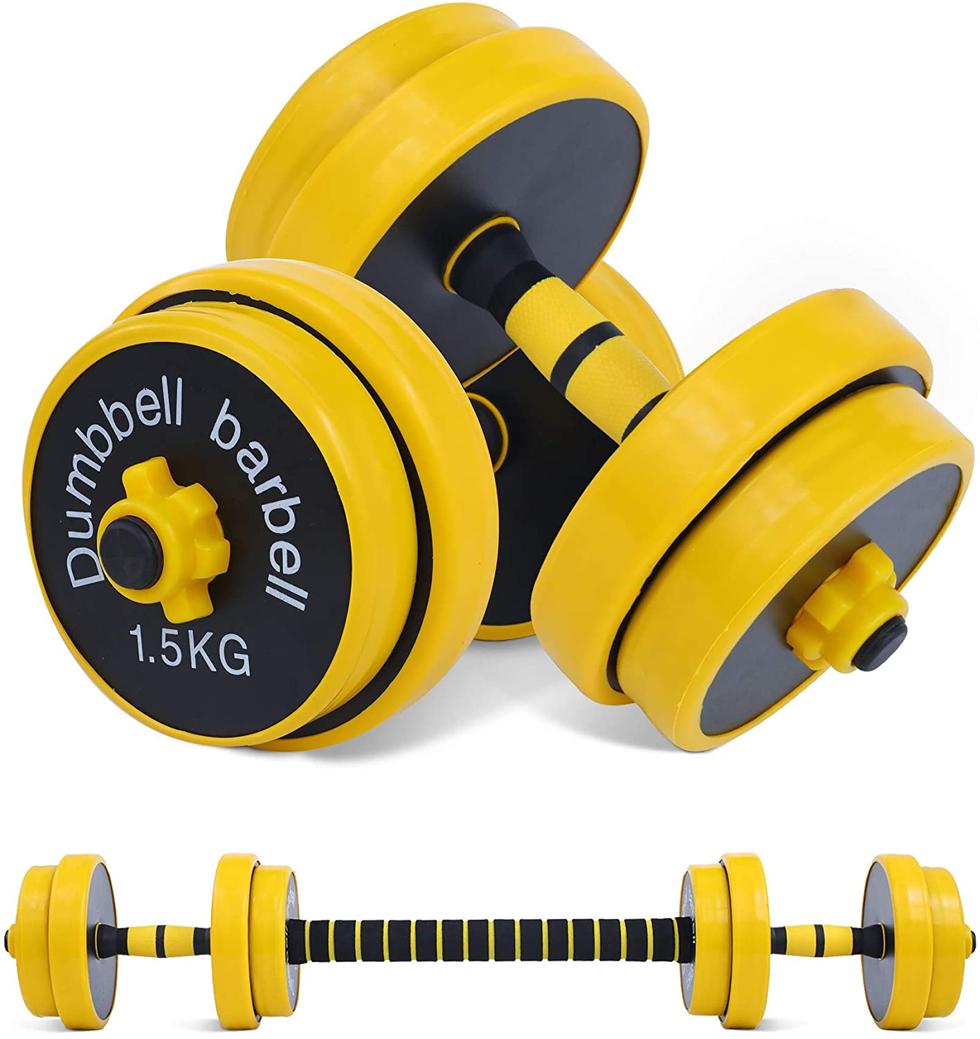 Nice C Adjustable Dumbbell Barbell Weight Pair, Free Weights 2-in-1 Set, Non-Slip Neoprene Hand, All-Purpose, Home, Gym, Office