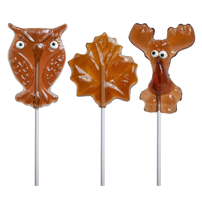 Maple Hard Candy Lollipop Assortment Moose Owl Leaf (24 Count)