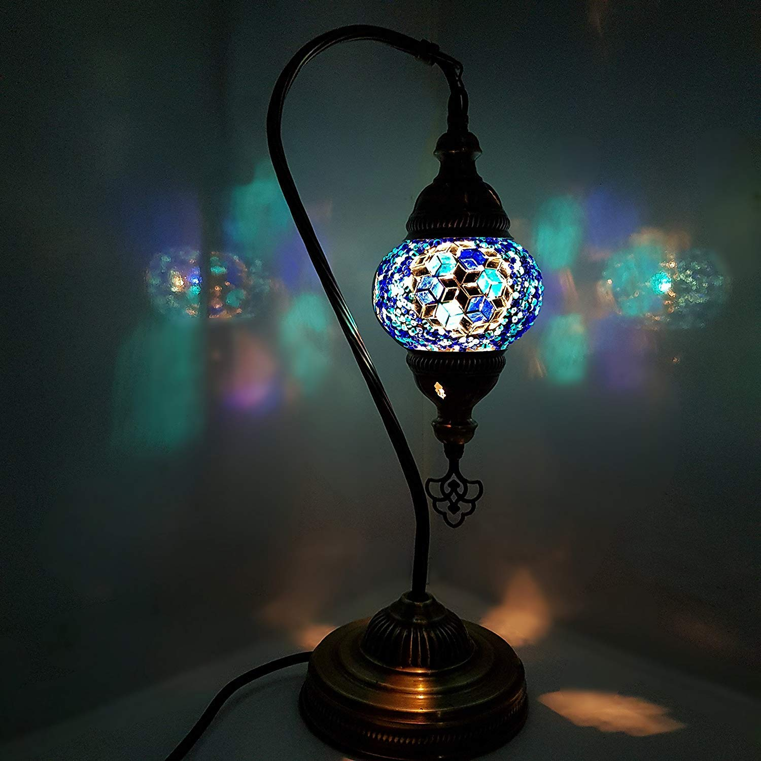 Handmade Colourful Small Glass Mosaic Turkish Moroccan Bohemian Eastern Style Desk Table Lamp Light with US Plug