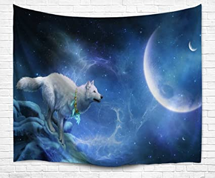 Background Wall Wolf Moon Tapestry Running for Makes Wolf White Crystal Blue in Outspace DENGYUE qXEwOn