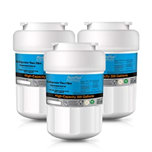 PUREPLUS MWF Refrigerator Water Filter, Replacement for GE SmartWater MWFP, MWFA, GWF, HDX FMG-1, WFC1201, GSE25GSHECSS, PC75009, RWF1060, 197D6321P006 (Pack of 3)
