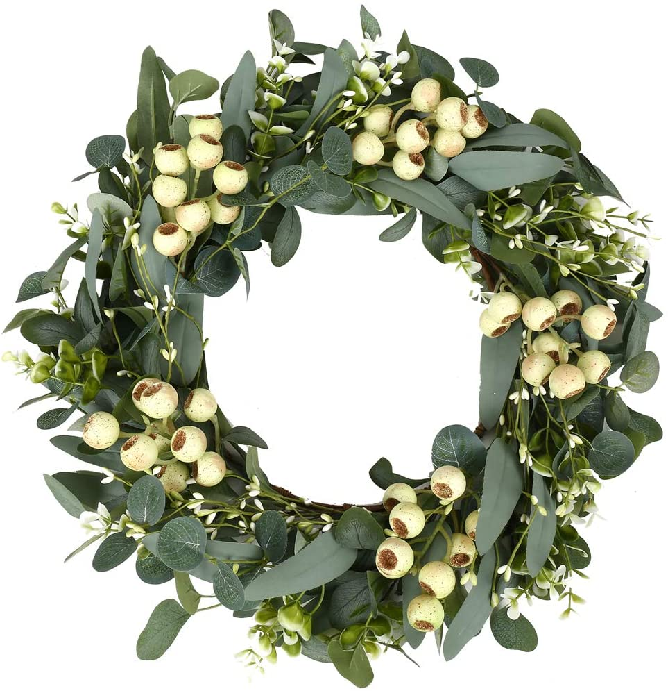 Green Eucalyptus Wreath,Artificial Eucalyptus Leaves Wreath with Big Berries,Spring/Summer Greenery Wreath for Front Door Wall Window Decor-20in