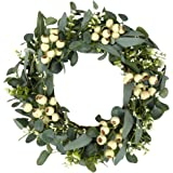 Green Eucalyptus Wreath,Artificial Eucalyptus Leaves Wreath with Big Berries,Spring/Summer Greenery Wreath for Front…