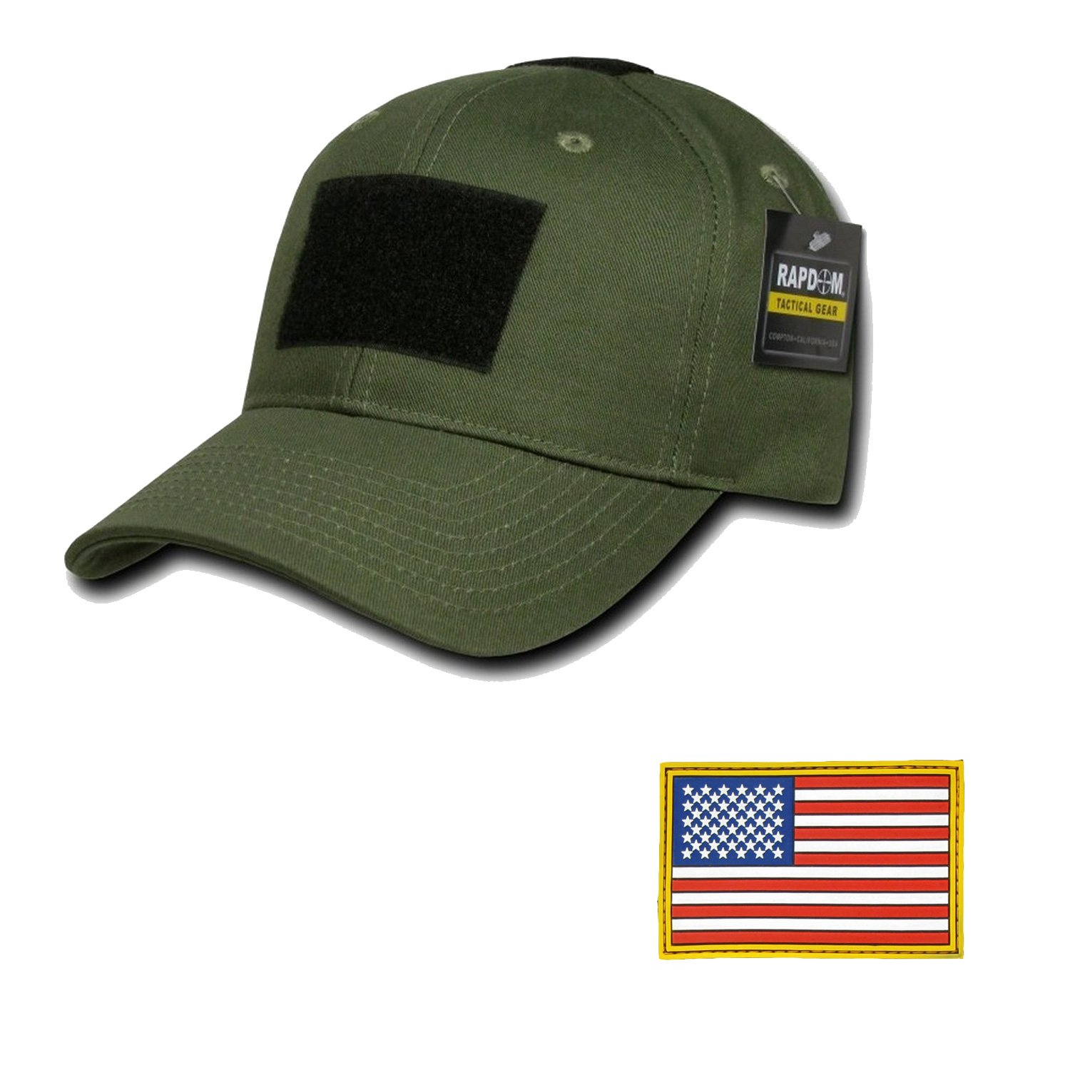 RAPDOM Genuine Tactical Constructed Ball Operator Cap Olive Caps with Free Patch (Olive, USA Flag Original Patch) by RAPDOM
