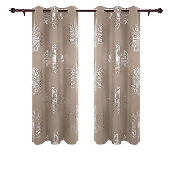 Deconovo Vorhang Verdunkelung Gardinen Schlafzimmer Vorhänge Blumen  Blickdicht 175x140 Cm Taupe 2er Set