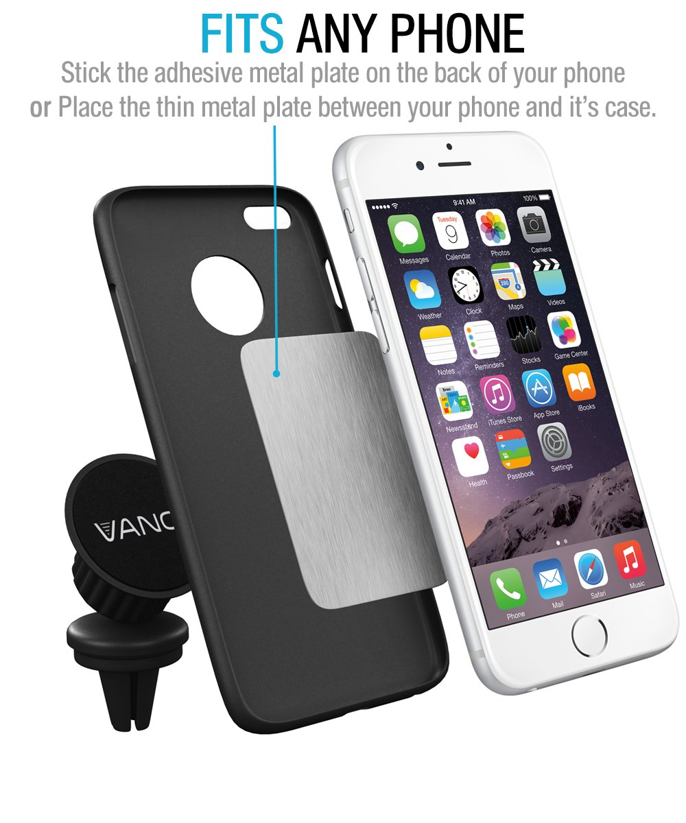 Amazon Com Vano Magnetic Car Mount Universal Air Vent Cell Phone Holder For Iphone  Gps Smartphone Rv Truck Easy To Use With Extra Metal Plates