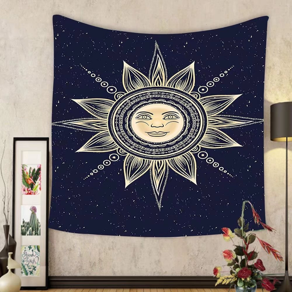 Gzhihine Custom tapestry Psychedelic Tapestry Vintage Occult Sun with Face Boho Chic Esoteric Solar Spiritual Display for Bedroom Living Room Dorm Yellow Dark Blue