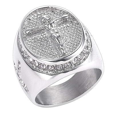 Amazon.com: Michelle Anillo de titanio cristiano vintage con ...
