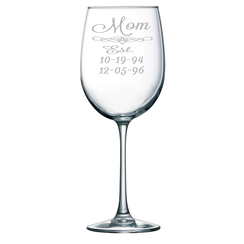 Mom Established 19 oz. Wine Glass with Kids Birthdays