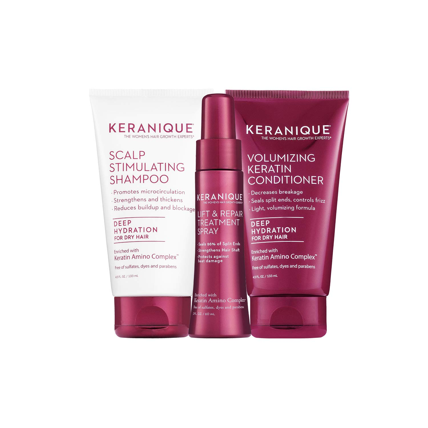 Keranique 30 Day Lift & Repair Kit - Deep Hydration | Shampoo, Conditioner, and Lift & Repair Treatment Spray | Keratin Amino Complex | Seals Split Ends | Free of Sulfates, Dyes and Parabens by Keranique