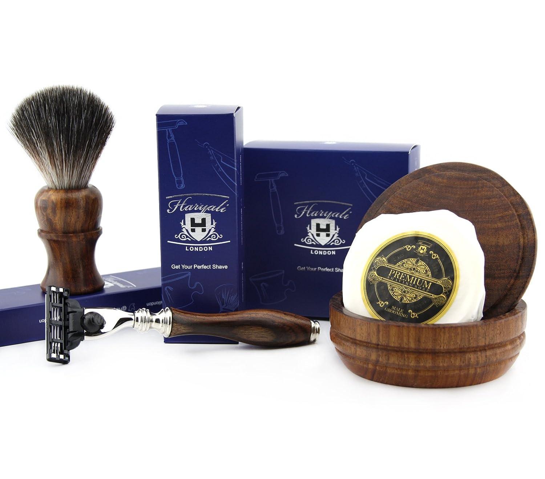 4 PCs Wooden Shaving Set With Gillette Mach 3,Pure Badger Hair Brush,Soap & Bowl Haryali London