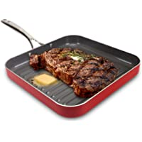 EaZy BrandZ EZC-2150C Square Grill Pan, Red, Large