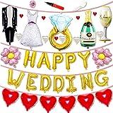 JINSELF 結婚式 超巨大 吊るせる風船 ウエディングバルーン 豪華35ピース 飾り付け セット ポンプ付き KB
