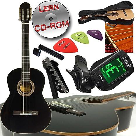 Alta calidad Andaluza Concierto Guitarra clásica 4/4 en color negro, con pícea maciza