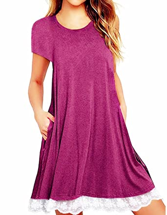 5e5eb29c51f Women's Short Sleeve Lace Tunic Tops with Pocket Summer Casual Swing T Shirt  Blouse Tops for Legging at Amazon Women's Clothing store: