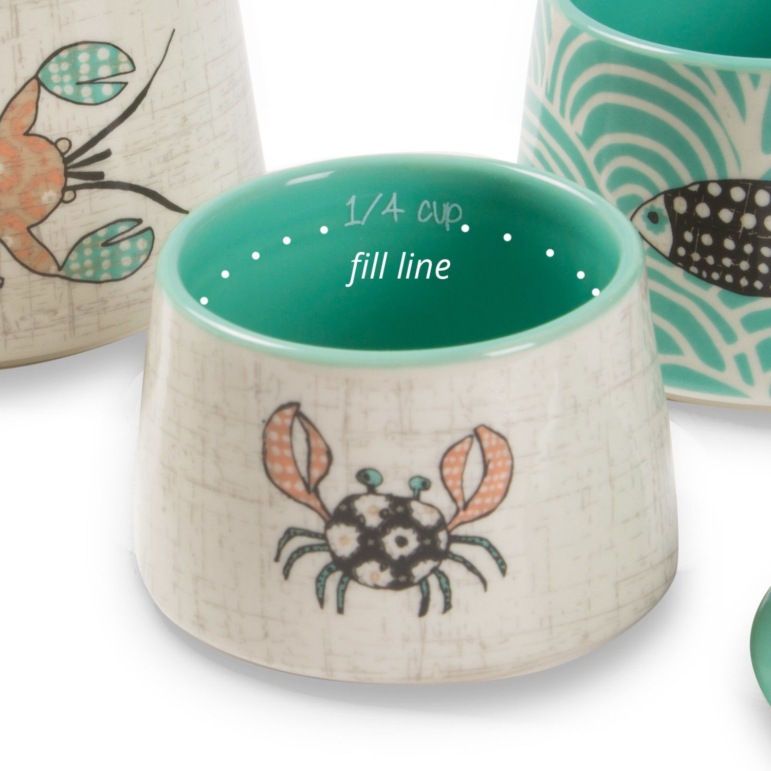 Teal /& Beige Pavilion Gift Company 74306 Pavilion Fish Lobster and Whale Stack-able Light House Themed Ceramic Measuring Cup Set Beach Themed Crab