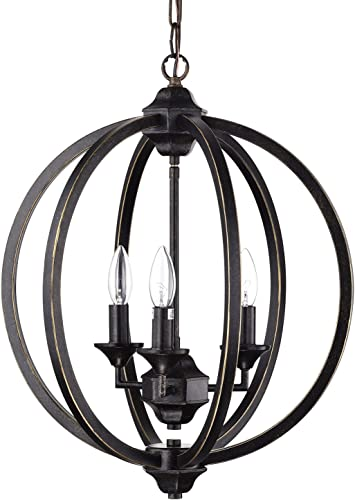 Edvivi 3-Light Antique Bronze Wrought Iron Globe Cage Chandelier Ceiling Fixture