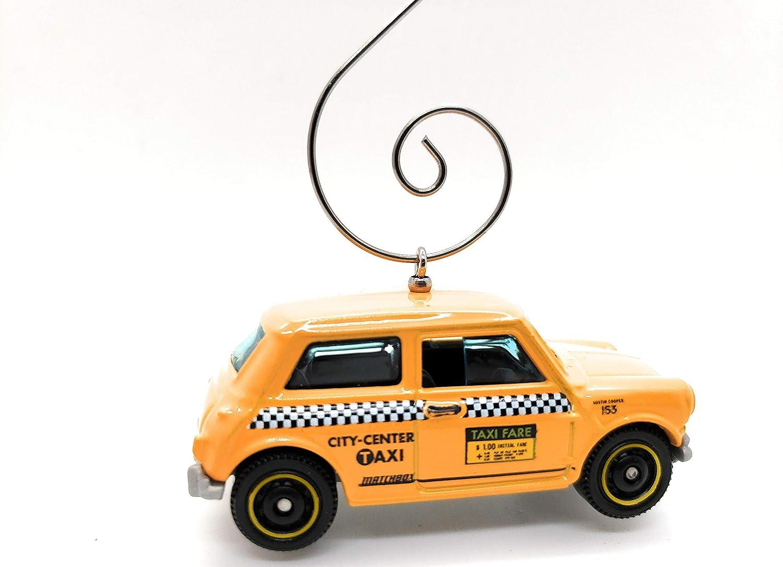 Austin Mini Cooper Taxi Cab Custom Christmas Ornament 1:64 Diecast Yellow