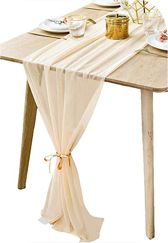 Camino de mesa de muselina de seda, camino de mesa, 305 x 30 cm, suave, mantel para boda, beige