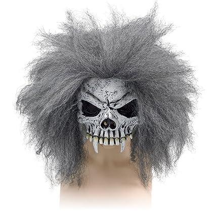 HALLOWEEN HORROR HALF FACE SKULL MASK /& HAIR mens ladies fancy dress accessory