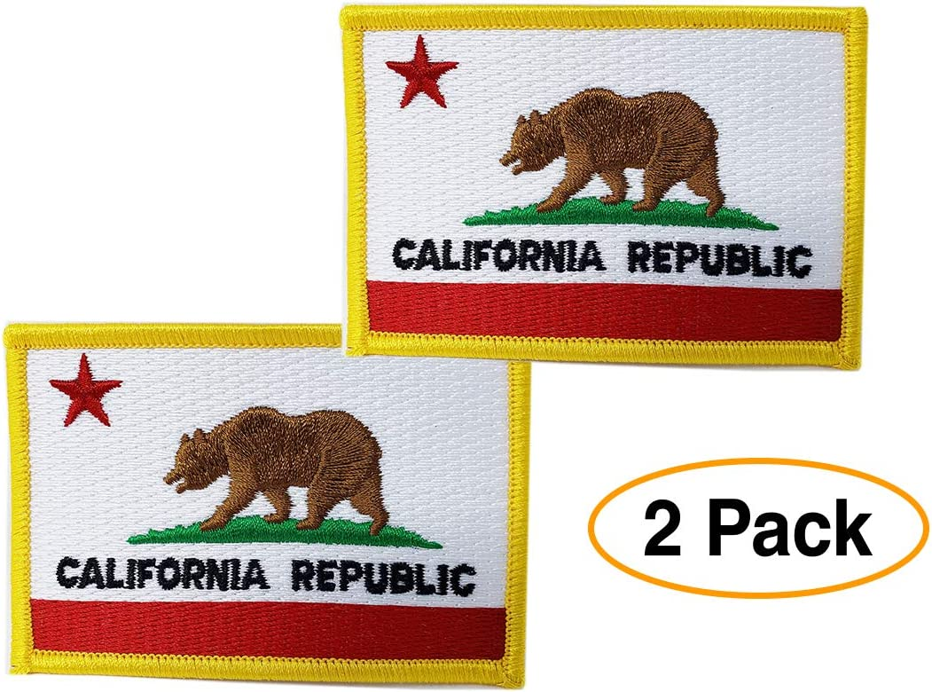 California Republic Biker Patch Iron On Patch 4x3 inch Free Shipping Embroidered